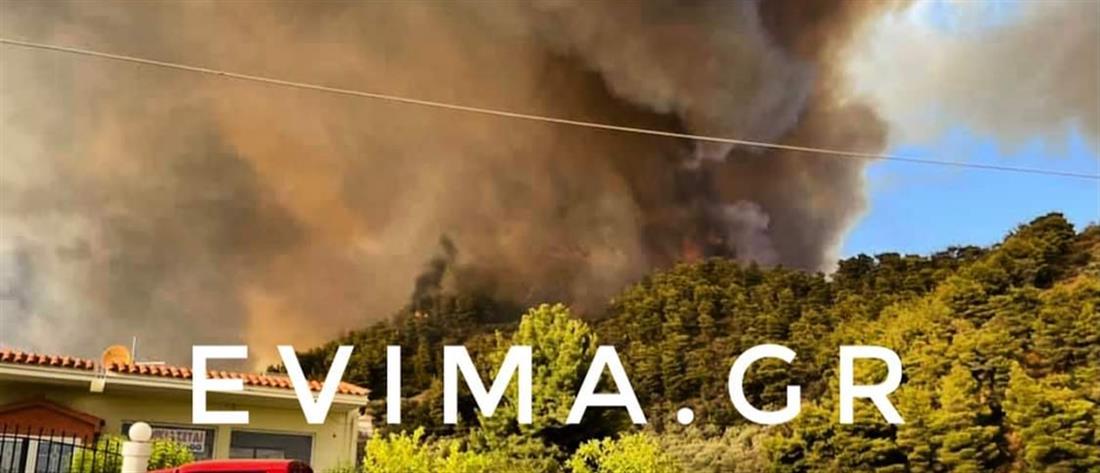 Φωτιά στην Εύβοια: Στη μάχη τα εναέρια μέσα - Νέο μήνυμα από το 112