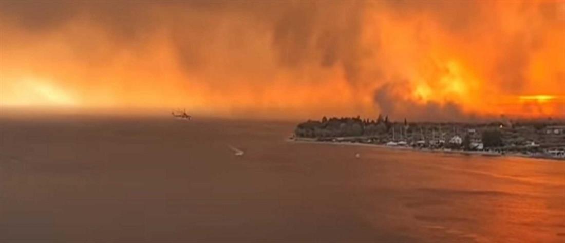 """Φωτιά στην Εύβοια: """"πύρινη κόλαση"""" και εικόνες βιβλικής καταστροφής"""