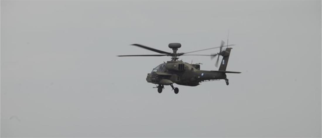 """Αναγκαστική προσγείωση ελικοπτέρου """"Απάτσι"""" της Αεροπορίας Στρατού"""