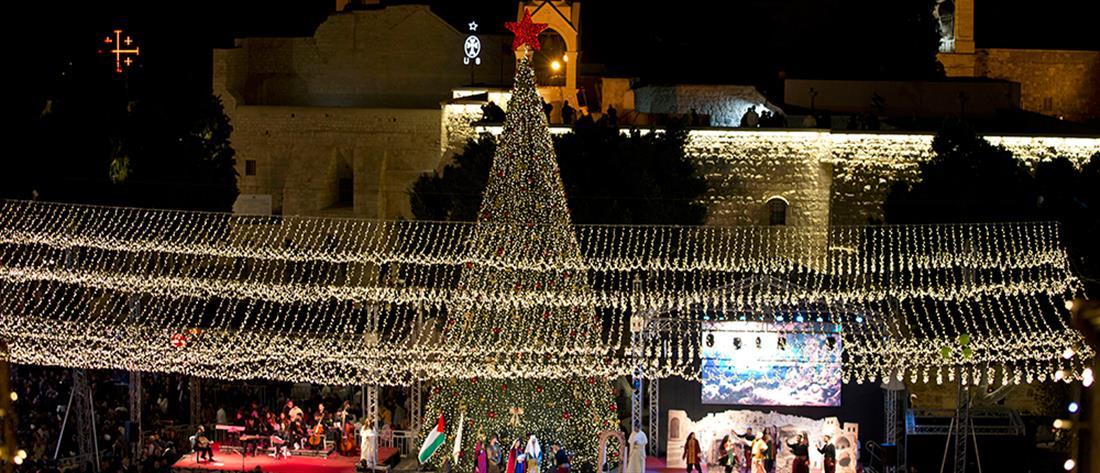 Βηθλεέμ: Φωταγωγήθηκε το χριστουγεννιάτικο δέντρο (βίντεο)