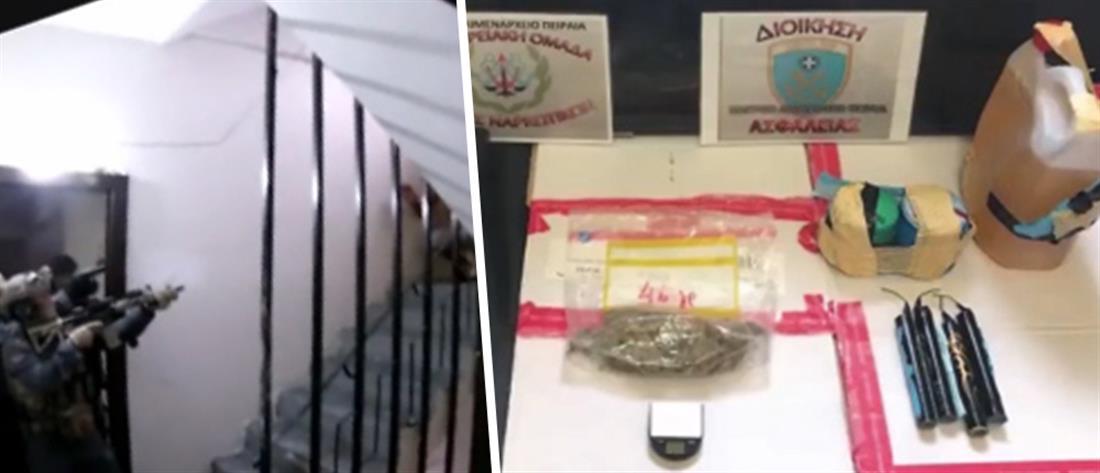 Βρήκαν εκρηκτικά και ναρκωτικά σε σπίτια στην Αγία Βαρβάρα (βίντεο)