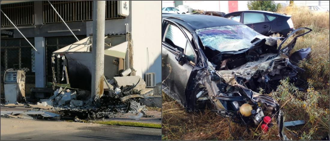 Δύο νεκροί σε ΙΧ που χτύπησε περιπολικό και καρφώθηκε σε κολόνα (εικόνες)