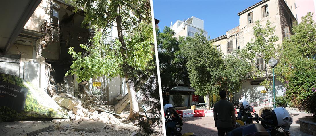 Καταρρέει κτήριο στην Αιόλου - Αποκλείστηκε η περιοχή (εικόνες)
