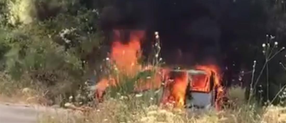 Πυρκαγιά στη Λευκάδα (βίντεο)