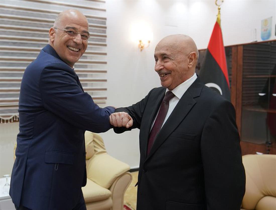 Νίκος Δένδιας - Aguila Saleh -  Πρόεδρος λιβυκού Κοινοβουλίου