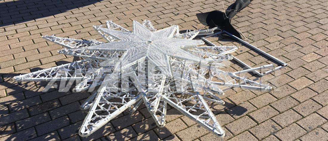 Βανδαλισμός χριστουγεννιάτικων στολιδιών στο μνημείο Καραϊσκάκη (εικόνες)
