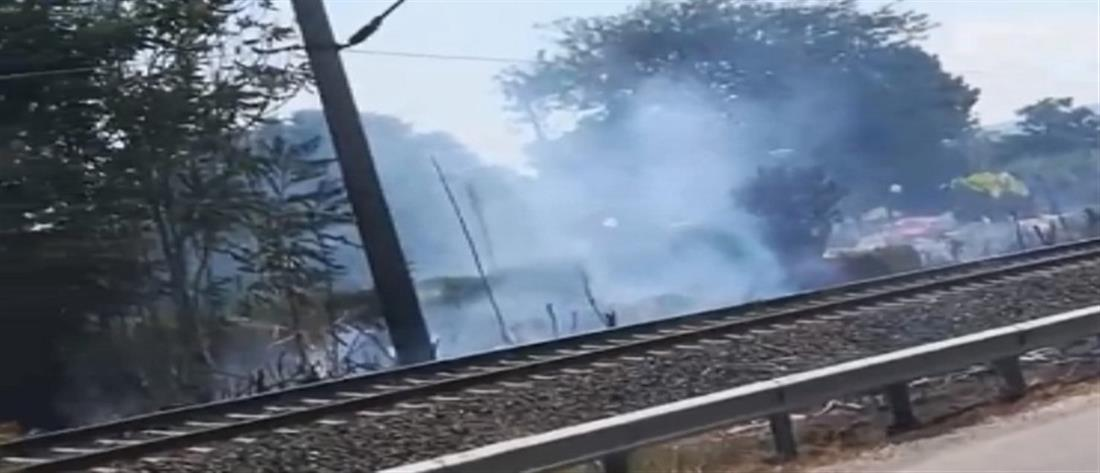 Φωτιά κατά μήκος σιδηροδρομικής γραμμής (βίντεο)