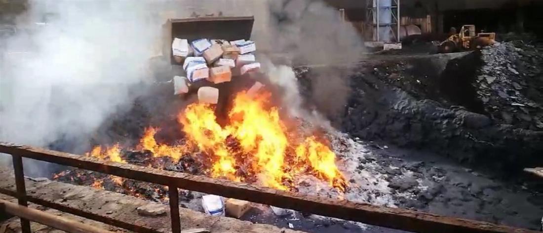 ΕΛΑΣ: στην πυρά τεράστιες ποσότητες ναρκωτικών (εικόνες)