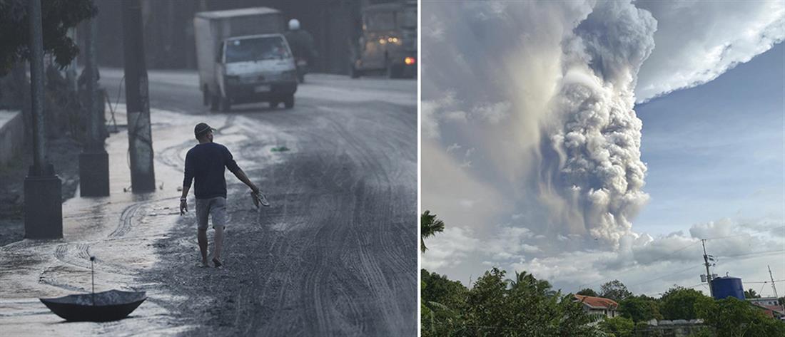 """""""Συναγερμός"""" και εικόνες δέους από την έκρηξη του ηφαιστείου στις Φιλιππίνες"""