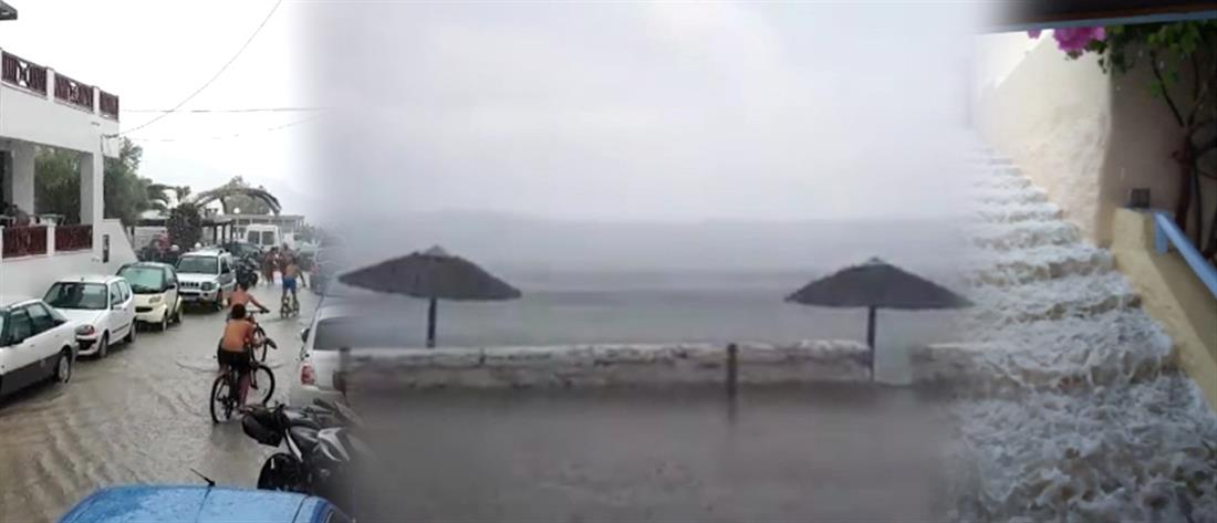 """Η στιγμή που μπουρίνι """"χτυπά"""" την Σύρο (βίντεο)"""