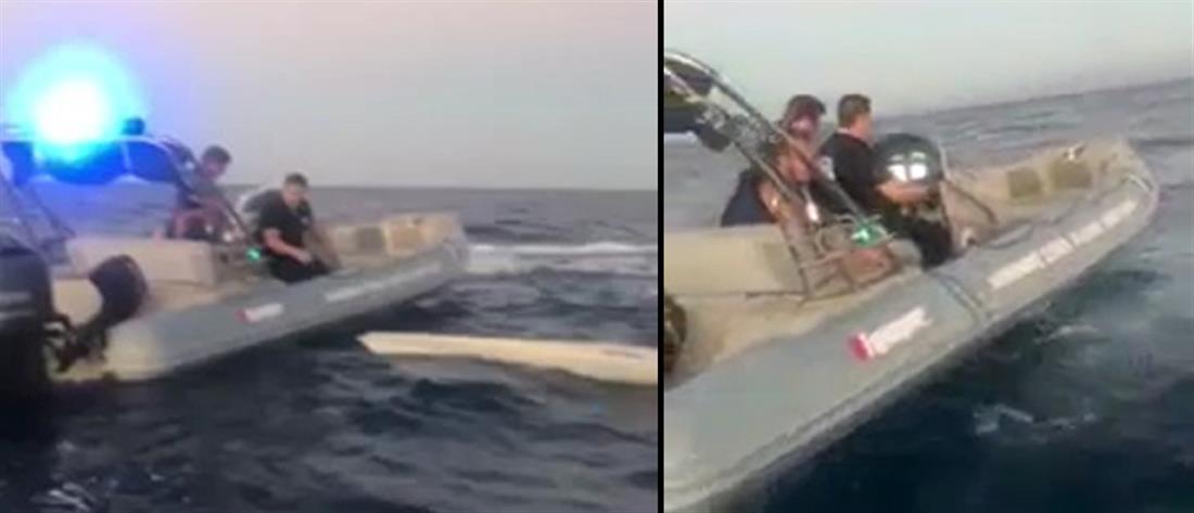 Διάσωση τουρίστα που κινδύνεψε κάνοντας κανό στην Κρήτη (βίντεο)