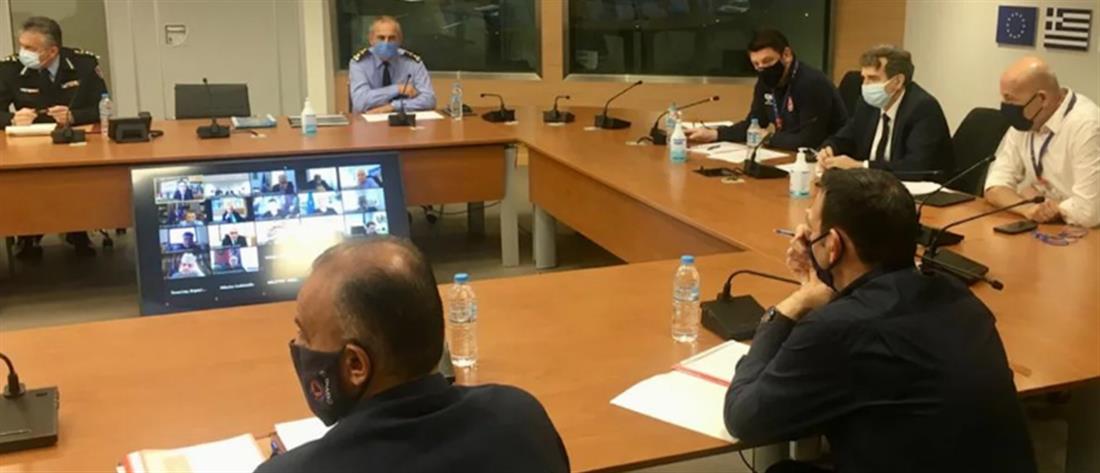 Πολιτική Προστασία -  σύσκεψη -  Χρυσοχοΐδης - Χαρδαλιάς