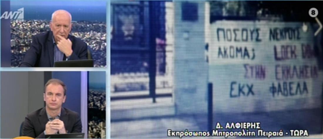 Πανό στη Μητρόπολη Πειραιά (εικόνες)
