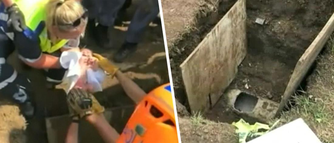 Διάσωση νεογέννητου από υπόγειο σωλήνα! (βίντεο)