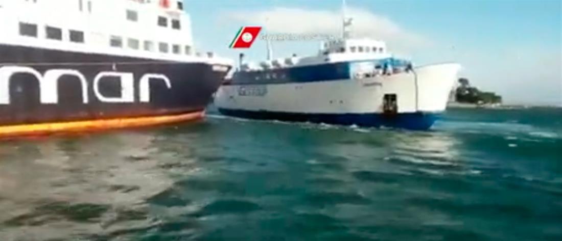Σύγκρουση πλοίων λόγω ισχυρών ανέμων στην Ιταλία (βίντεο)