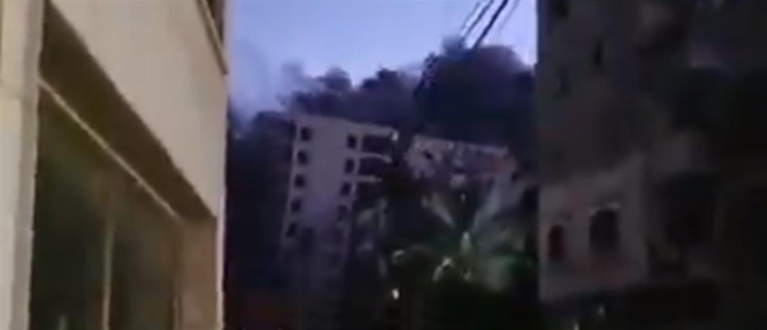Γάζα: κατάρρευση πολυώροφου κτηρίου από ισραηλινό βομβαρδισμό (βίντεο)