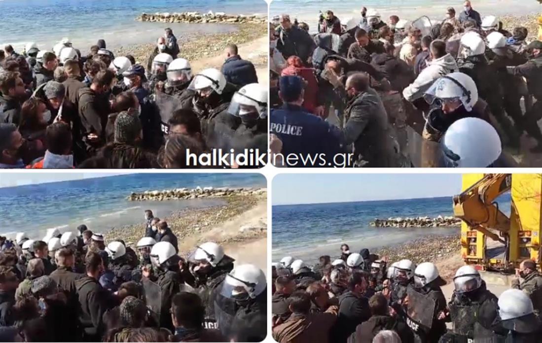 Χαλκιδική - Νικήτη - παραλία - επεισόδια