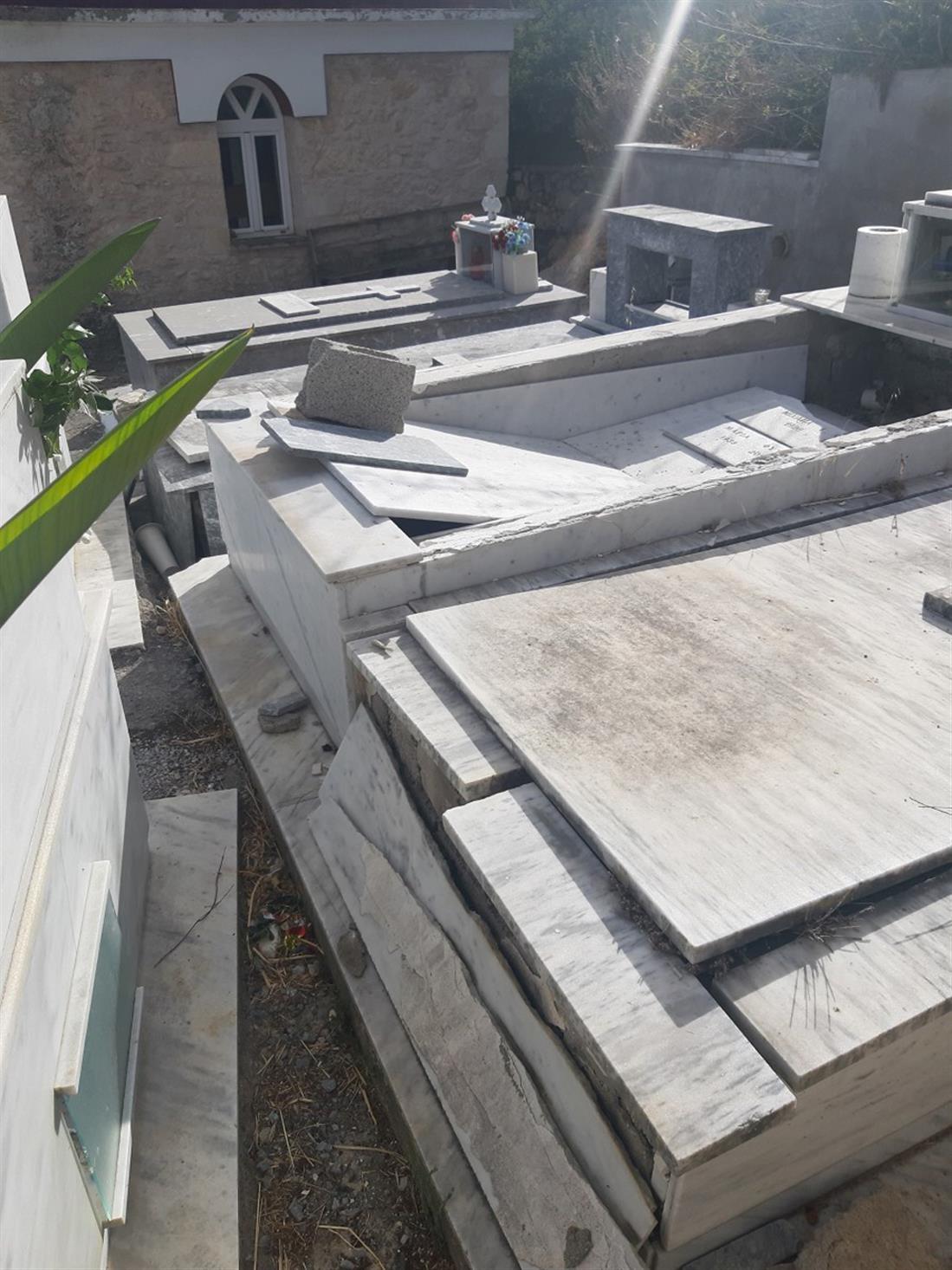 κοιμητήριο - Δήμος Μινώα Πεδιάδος - σεισμός - ζημιές