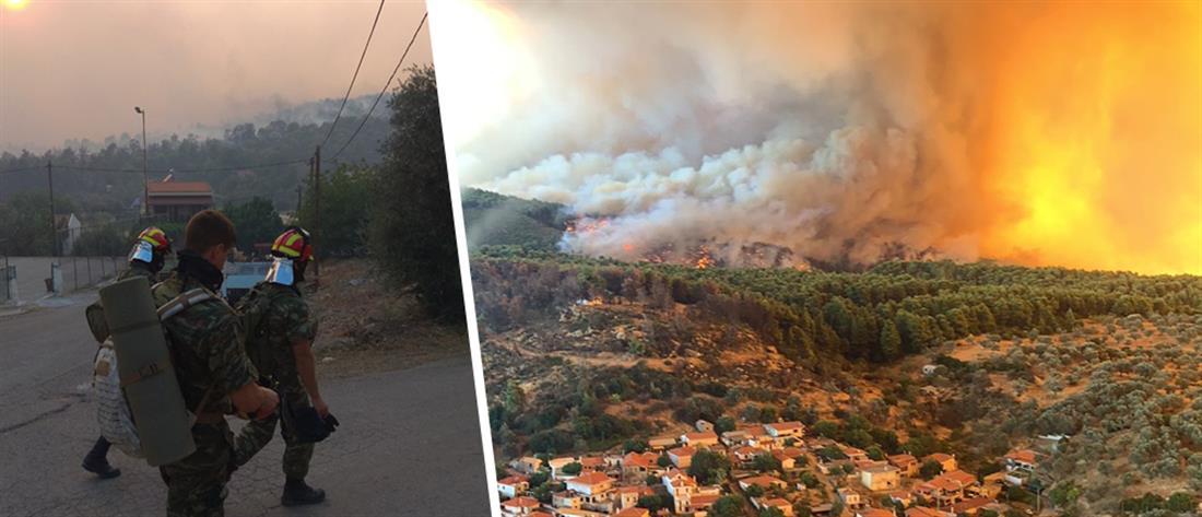 Η συνδρομή του Στρατού Ξηράς για την αντιμετώπιση της φωτιάς στην Εύβοια (εικόνες)