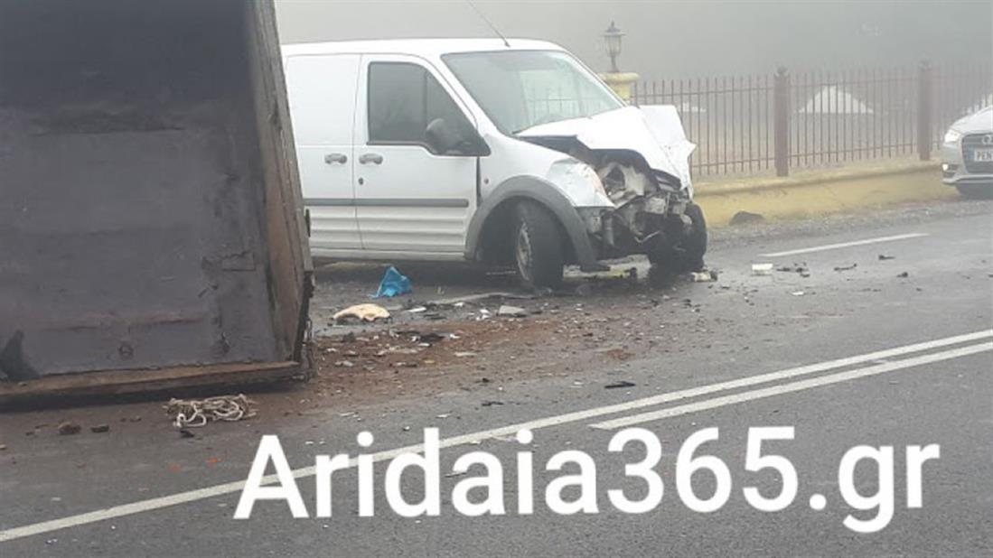 τροχαίο - σύγκρουση - τρακτέρ - φορτηγάκι - Πέλλα
