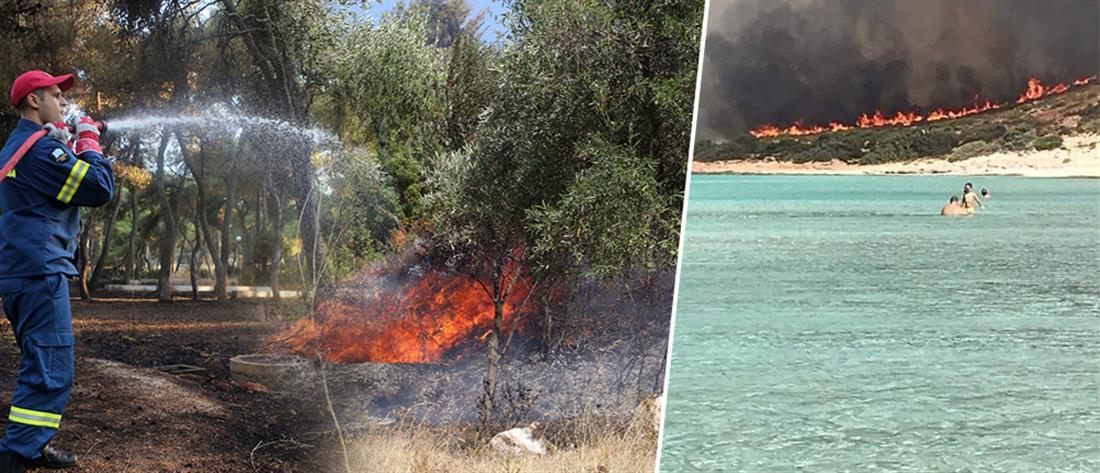 Επιφυλακή για τις φωτιές σε Μαραθώνα και Ελαφόνησο