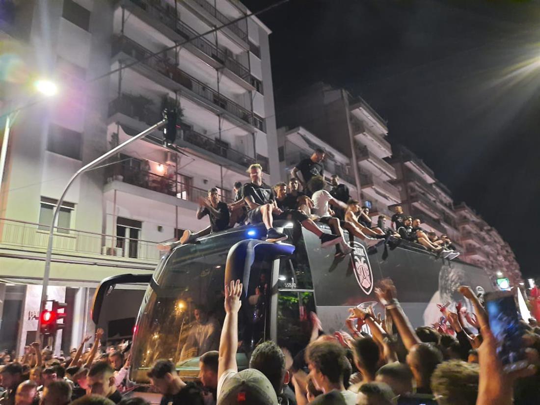 ΠΑΟΚ - πανηγυρισμοί - Κύπελλο Ελλάδος - πούλμαν