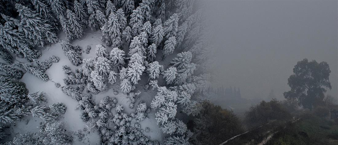 """Σπάνια χιονοκαταιγίδα έφερε ο """"Τηλέμαχος"""" (βίντεο)"""