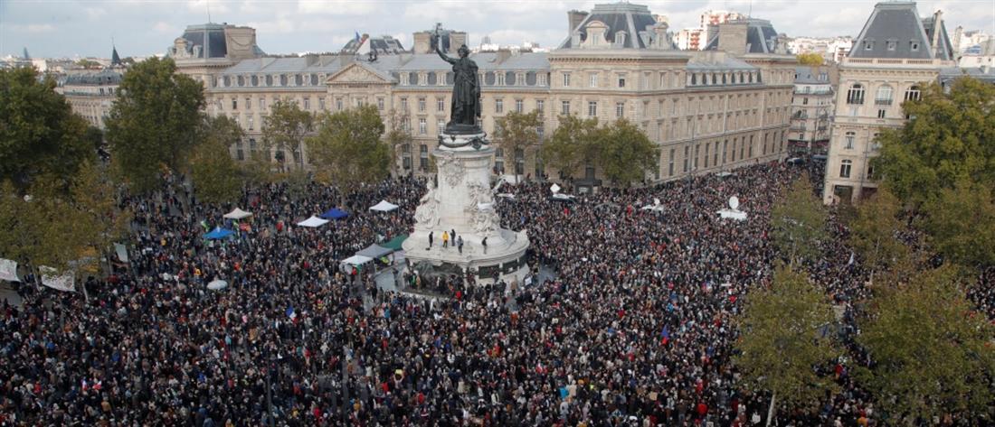 Παρίσι: Χιλιάδες άνθρωποι απέτισαν φόρο τιμής στη μνήμη του Σαμιέλ Πατί (εικόνες)