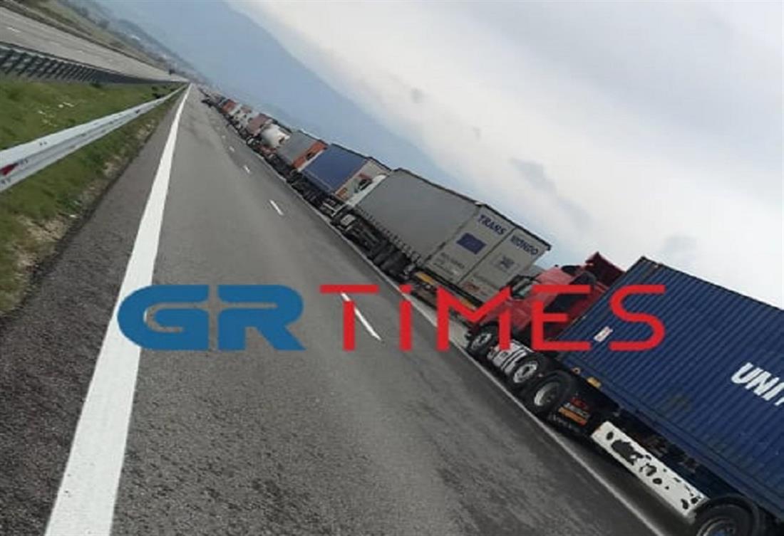 Σύνορα Προμαχώνα - Ουρά φορτηγών