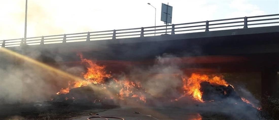 Κλειστό τμήμα της Εγνατίας λόγω φωτιάς σε χορτόμπαλες (εικόνες)