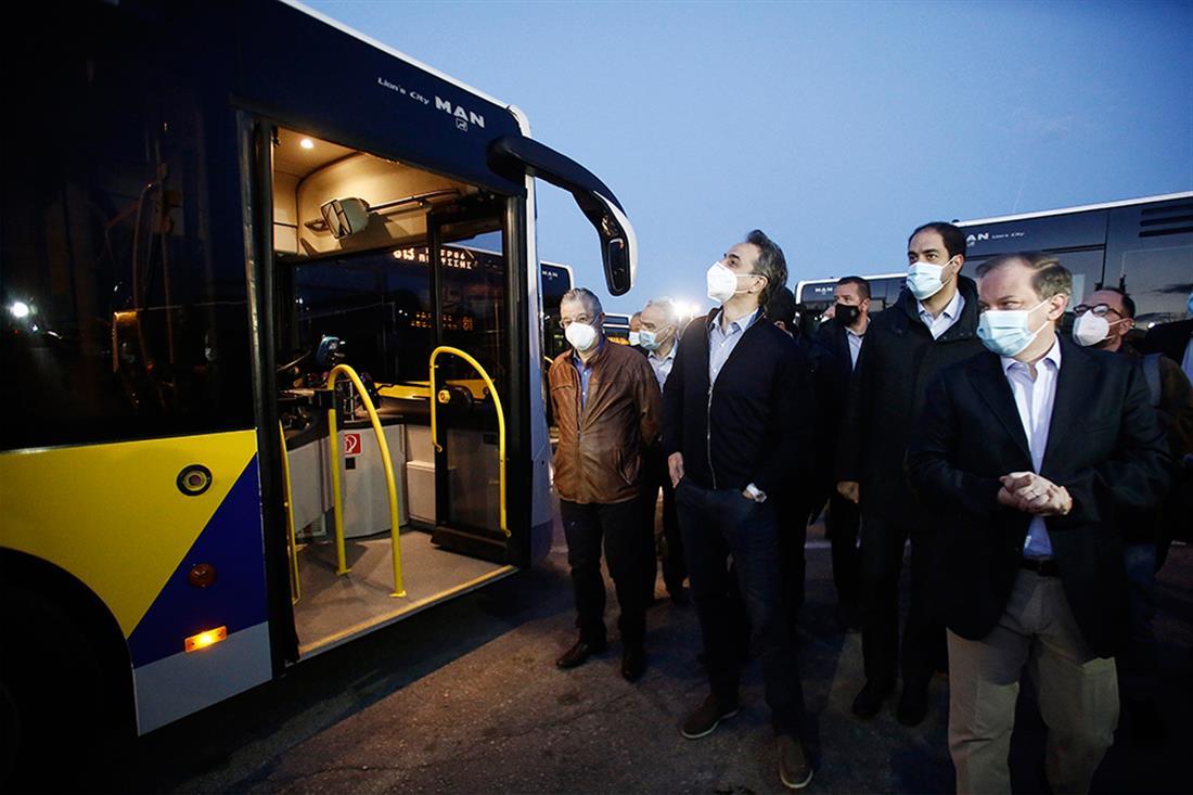 Κυριάκος Μητσοτάκης - αμαξοστάσιο της ΟΣΥ - νέα λεωφορεία
