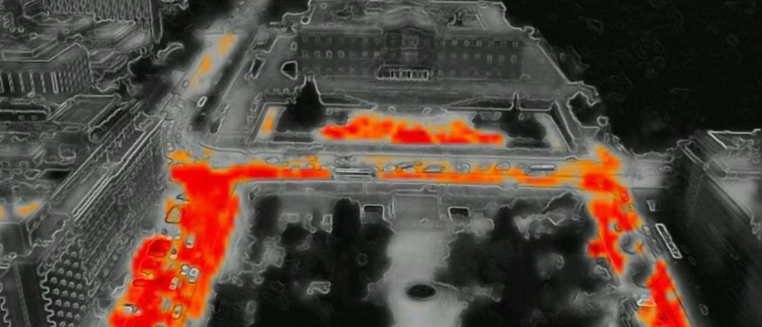 """Το… """"αποτύπωμα"""" του καύσωνα στο κέντρο της Αθήνας (βίντεο)"""