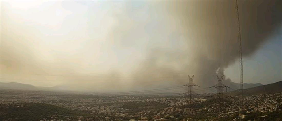 Φωτιά στη Βαρυμπόμπη: Το Time - lapse της πυρκαγιάς (βίντεο)
