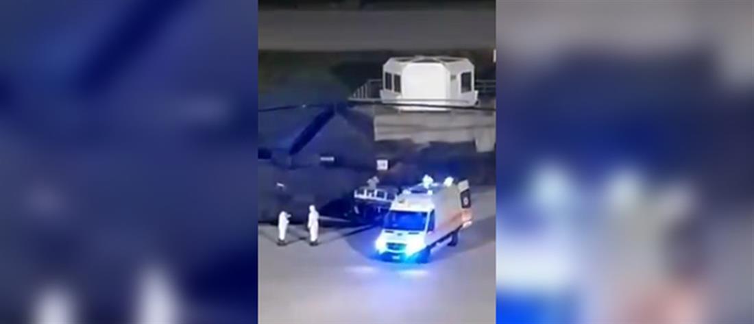 Αερομεταφορά ασθενούς με κορονοϊό από τη Σύρο στην Αθήνα (βίντεο)