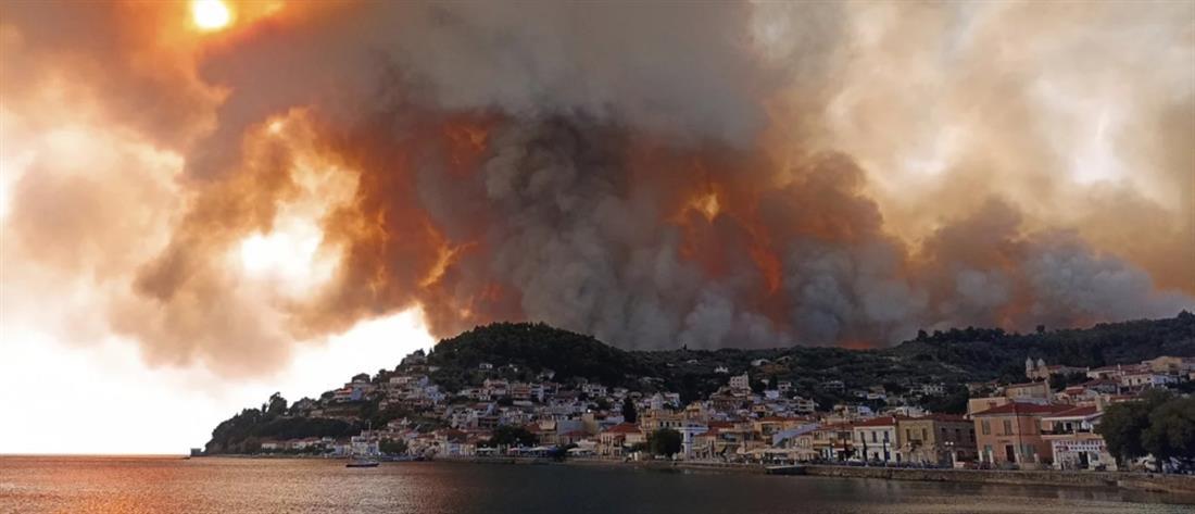 Φωτιά στην Εύβοια: Αναζωπύρωση και εκκένωση χωριών