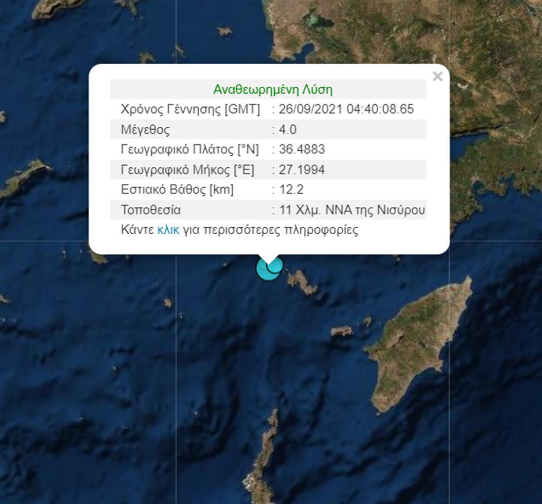 Σεισμός - Νίσυρος - Γεωδυναμικό Ινστιτούτο