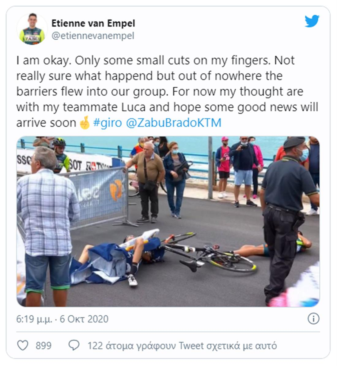 Ατύχημα - Ετιέν Φαν Εμπελ - γύρος της Ιταλίας