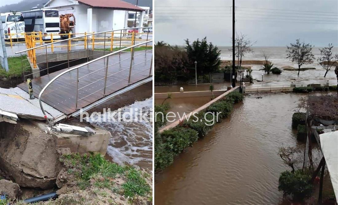Χαλκιδική - κακοκαιρία - πλημμύρες