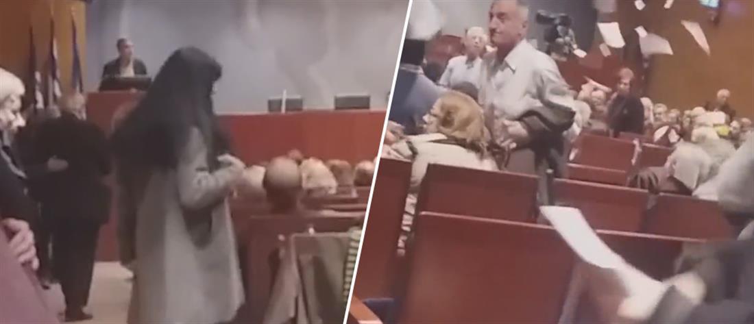 """Βίντεο του """"Ρουβίκωνα"""" από την εισβολή στην ομιλία Τσακαλώτου"""