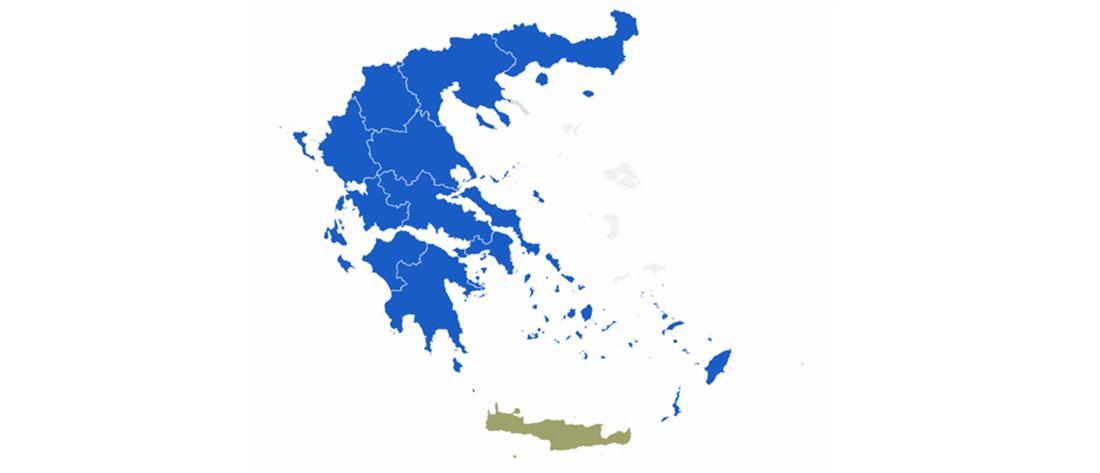 """Εκλογές 2019: """"Μπλε"""" η Ελλάδα μετά τις νίκες της ΝΔ στις Περιφέρειες"""