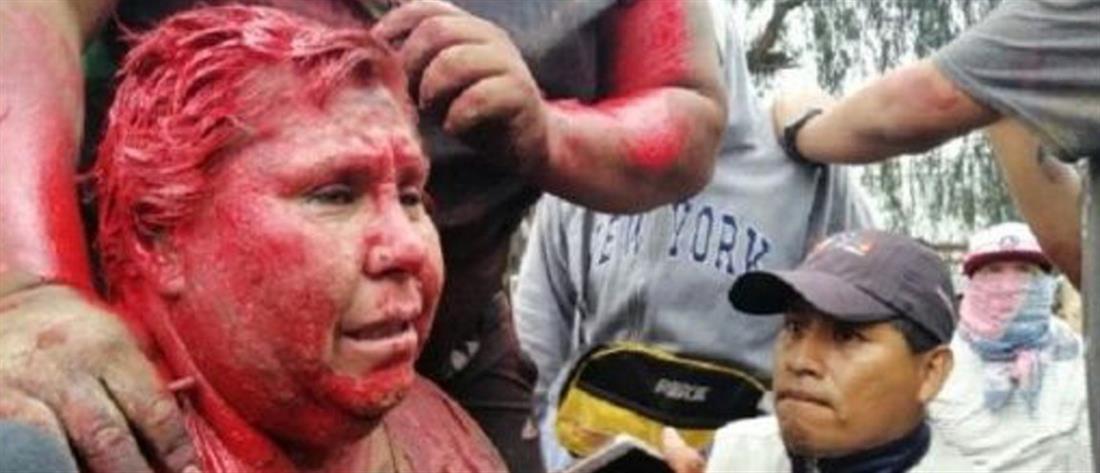 Βολιβία: διαδηλωτές κούρεψαν Δήμαρχο και την έβαψαν με μπογιά (εικόνες)