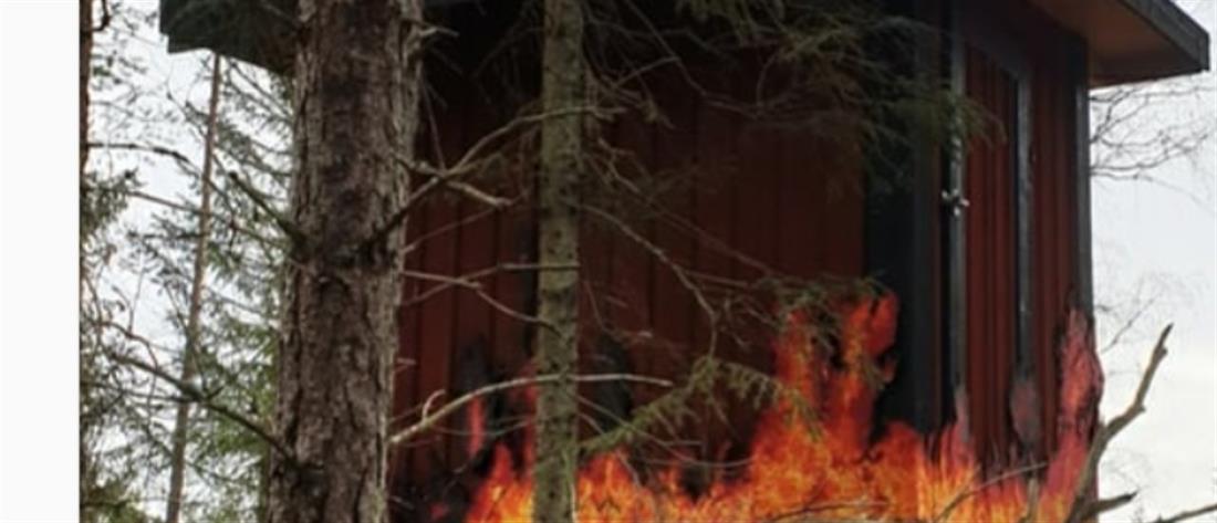 Σουηδία: Φωτισμός που μοιάζει με... φωτιά σε δάσος