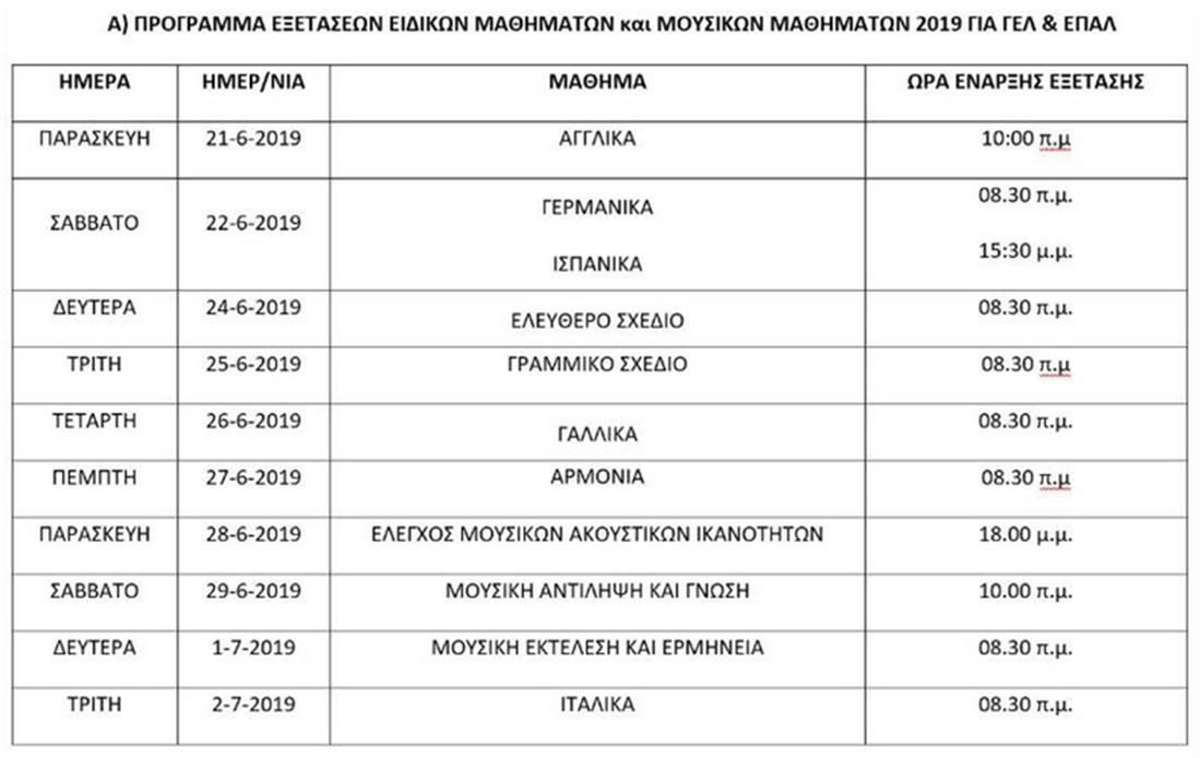 Πανελλήνιες εξετάσεις 2019 - πρόγραμμα