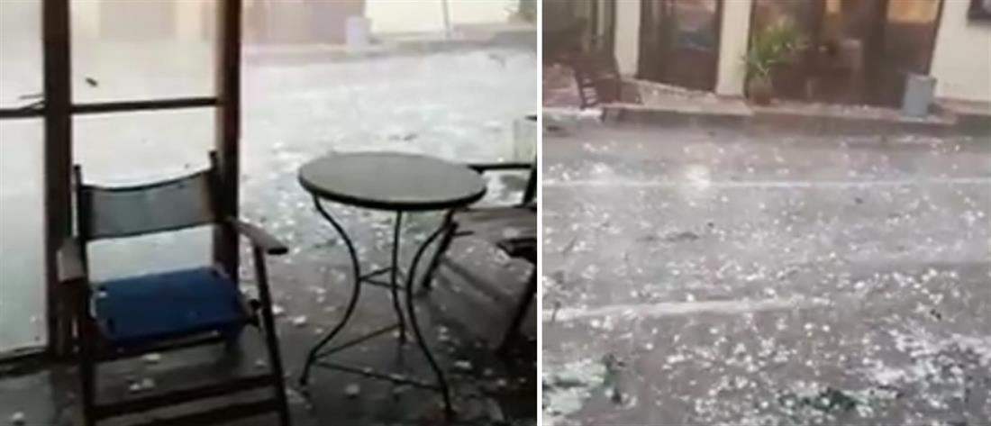 Απίστευτη χαλαζόπτωση στην Αλεξανδρούπολη (εικόνες)