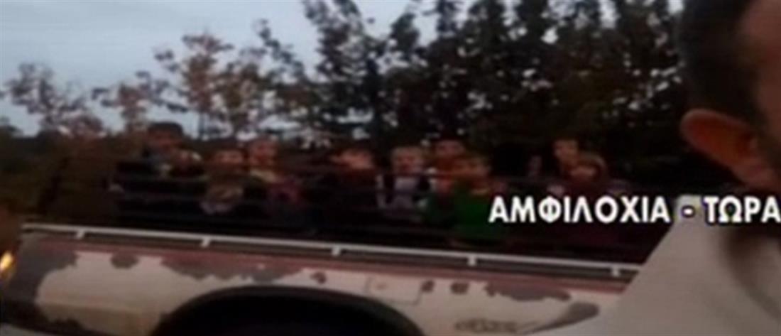 Αμφιλοχία: Με καρότσα μεταφέρονται στο σχολείο οι μαθητές (βίντεο)