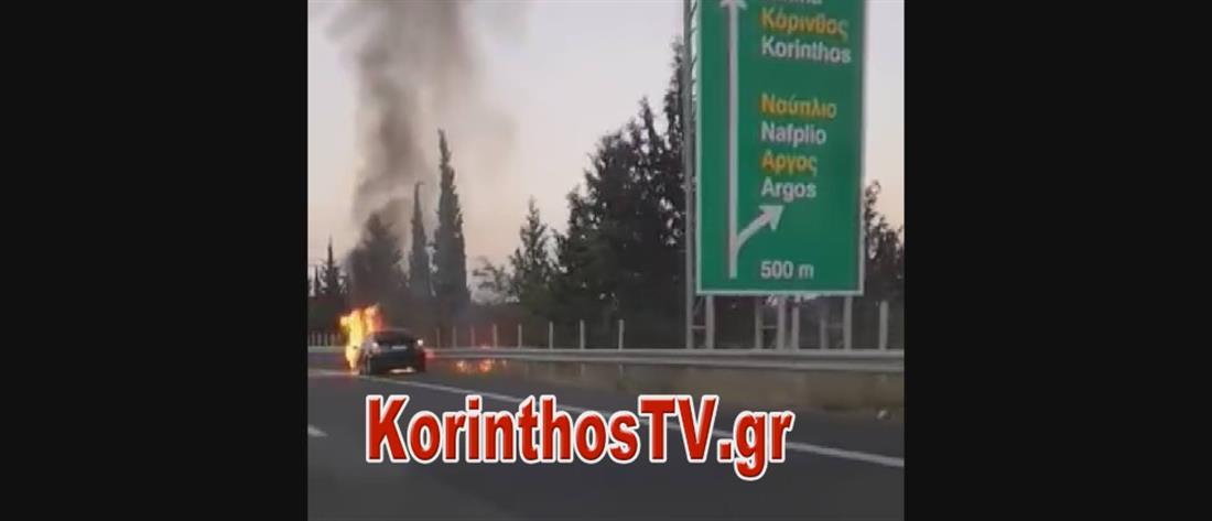 """Εθνική Κορίνθου- Τριπόλεως: Συναγερμός για αυτοκίνητο που """"λαμπάδιασε"""" (εικόνες)"""