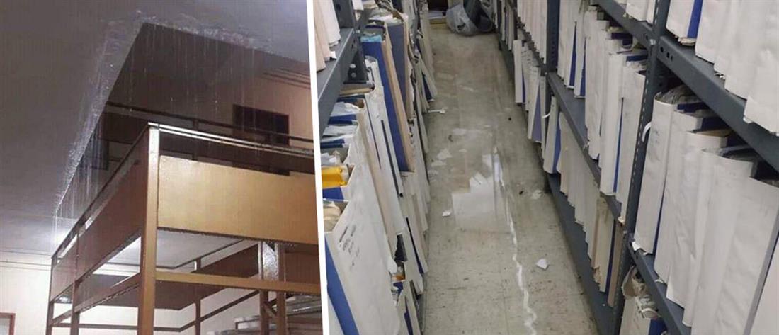 Πλημμύρισαν τα Δικαστήρια της Λάρισας μετά από τα έντονα καιρικά φαινόμενα