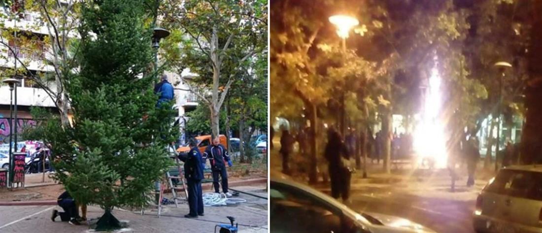 Επιχείρησαν να κάψουν το χριστουγεννιάτικο δέντρο στην πλατεία Εξαρχείων