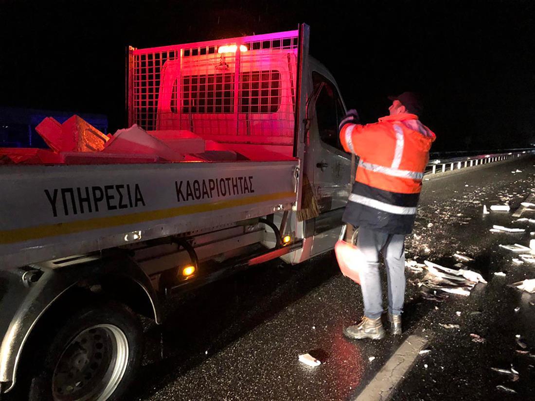 Τρίκαλα - τροχαίο ατύχημα - ψάρια - φορτηγάκι