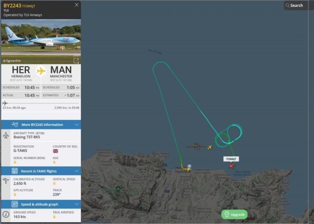 αεροσκάφος TUI - αναγκαστική προσγείωση - Ηράκλειο
